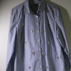 Talbots Striped Embellished Jeweled Shirt Size LP